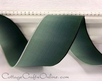 """Wired Ribbon, 1 1/2"""" wide, Emerald Green Ombre Taffeta - TEN YARD ROLL - Forest Green Gradient Watercolor Fall Wire Edged Ribbon"""