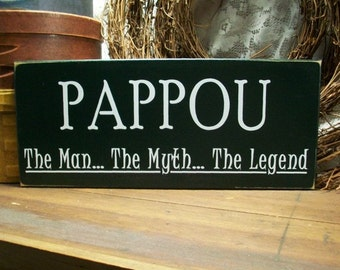 Wood Sign Pappou The Man The Myth The Legend Greek Grandfather Plaque Personalized Grandfather