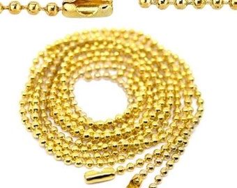12 chains necklace mesh ball gold 80 cm
