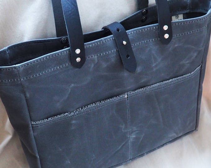 Waxed Canvas Tote /  Leather Straps / Unlined