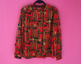 80s Red Black and Gold Chains Long Sleeve Top