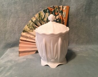 Rare Fenton White Milk Glass Cactus Design Lidded Compote or Candy Dish