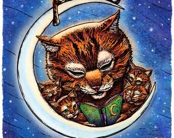 "Bedtime- 8"" x 10""- Cat Art Print- Cat Wall Decor- Cat Wall Art- Nursery Room Print- Kids Room Art"