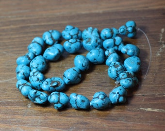 Turquoise Teal Blue Beads Magnesite Nuggets Full Strand Blue Stone Beads
