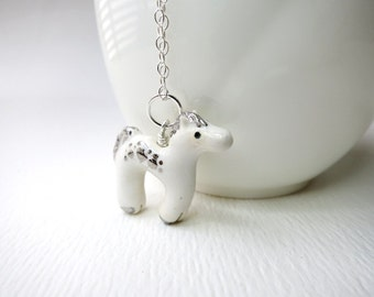 White Horse Necklace Ceramic Animal Charm Horse Gift White Silver Jewelry Horse Pendant White Pony Animal Jewelry Gift Horse Lover