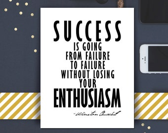 Inspirational Quote Printable Wall Art Winston Churchill Famous Success Quote Typography Modern Print DIY Motivational Decor Graduation Gift