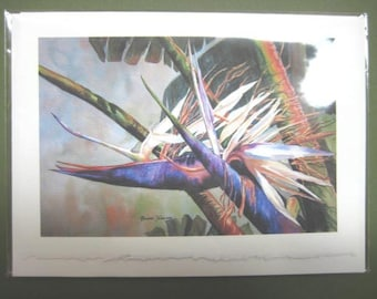 Bird of Paradise, 5 x 7  Note Card, watercolor print Tropical Flower, Florida, purple lavendar