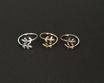 Adjustable Leaf Ring. Sterling Silver Leaf. Gold over Silver Leaf Ring. Rose Gold Leaf Ring. Layering Ring. Friendship Ring.Everyday Jewelry