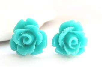 SALE - Teal Rose Stud Earrings