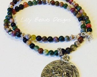 Pendant Necklace, Silver Faerie Pendant Necklace,Fancy Jasper Pendant Necklace,Tibetan Beads Necklace,Silver Faerie on the Moon Pendant