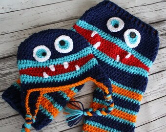 Crochet Striped Monster Baby Pants and Hat Set - Baby Monster Pants - Crochet Monster Pants and Hat - Baby Costume - by JoJo's Bootique