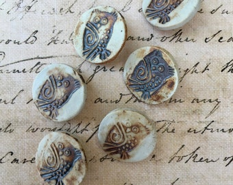 Vintage Artist Made Buttons with Little Owl Motif