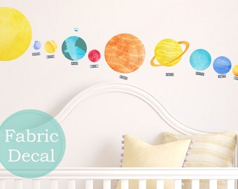 Sale Solar System wall decal Fabric wall stickers watercolor Planets Wall Decal kids art removable re usable