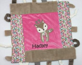 Personalized baby girl gift, toy tag blankie, Taggy Blankie, monogrammed shower gift, baby shower gift, taggie blanket, teether, deer