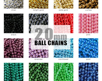 Ball Chain Necklaces 2.0mm Colored Ball Chains. Pendant and Necklace Chain. Choose A color or Mix of Colors.  Annie Howes. 10 Pack.