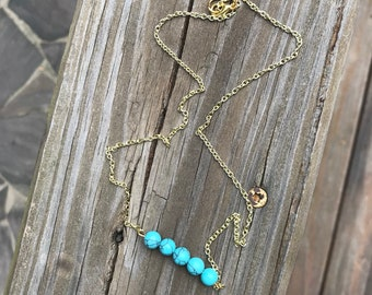 Turquoise and Gold Bar Necklace