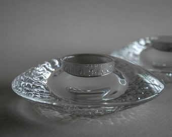 2 Orrefors candle holders in discus shape - Swedish glass