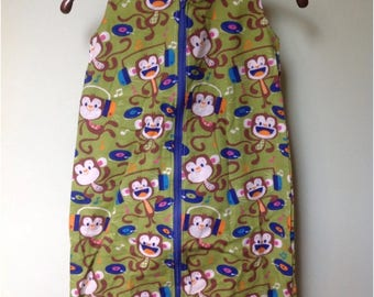 NEW-Flannel-Rocking Monkeys-Blanket Sleep Sleeper Sack-6-12M-Custom Handmade-Ready to Ship-Last One