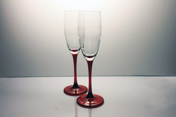 Cristal D'Arques-Durand Champagne Flutes, Cherry, Set of 2, Red Stems, Barware, Toasting Glasses