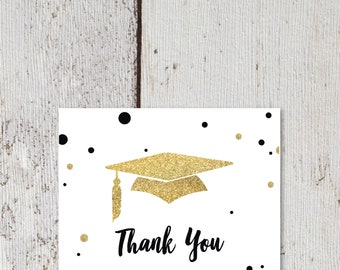 "Gold Tassel Graduation Thank You Card  |  Blank Interior  |  Printable Digital Download  |  5.5x4.25"" A2"