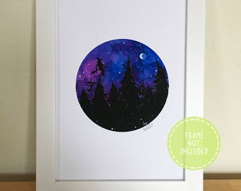 Watercolour Flying Witch Over the Night Sky Fine Art Print
