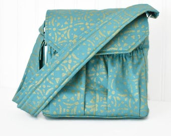 Monogrammed DSLR or Digital Camera Bag in Teal Gold and Gray with Adjustable Strap Canon Rebel T3i EOS 55mm