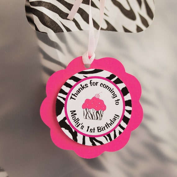 Items Similar To Cupcake Hot Pink And Zebra Favor Tags