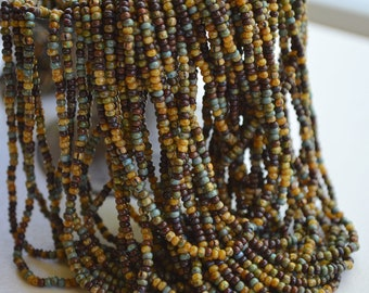 "20"" Strand- 10/0 Aged Bermuda Striped Picasso Mix- Czech Glass Beads (76-SB)"
