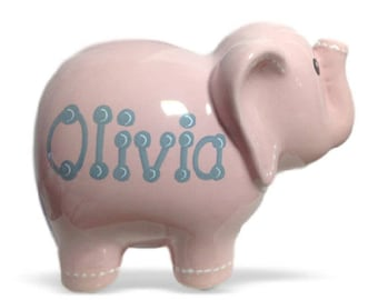 Personalized Hand Painted Large Pink  Elephant Bank -Baby's 1st Christmas, Flower Girl, Christening, Baptism, Birthday, Newborn Gift