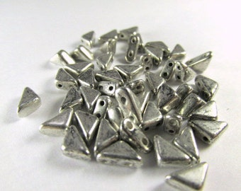 Antique Silver two hole Czech Glass Triangular Tango Jewelry Beads (25)