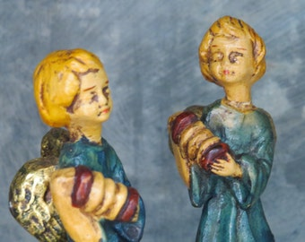 Italian figurines, angel sisters, guardian angels, angel figurine, christmas figurine, vintage angel, nativity figurine, blue and gold