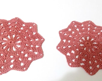 2 Crochet Lace Doily ,Small Crocheted Doilies,Housewarming Gift Home,Wedding Decor ,Handmade Decoration,Cotton Textile Art Vintage,Set Of 2