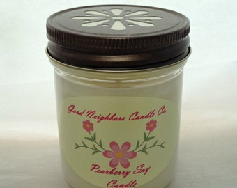 Pearberry Soy Candle, Fresh and Fruity Candle, White, Bronze Daisy Lid, Cotton Wick, 8 ounce