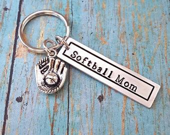 Softball Mom - Softball Keychain - Softball Mom Keychain - Softball - Softball Mom Gift - Gift for Softball Mom - Gift for Sports Mom - Mom
