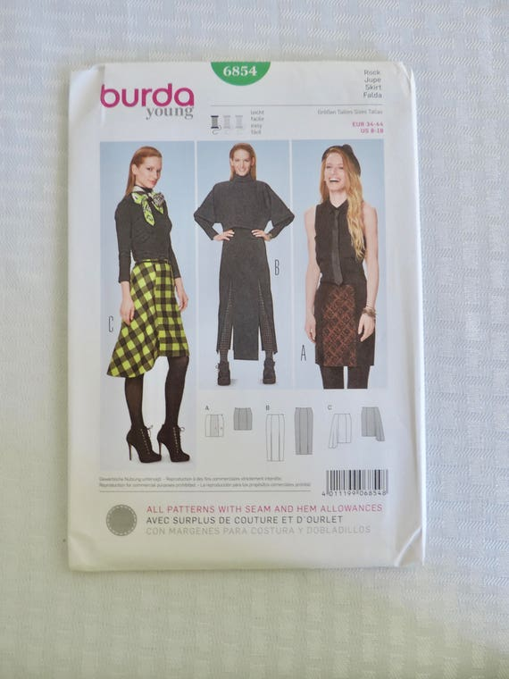 Burda Young 6854 Size 8-18 Misses Skirt Sewing Pattern /
