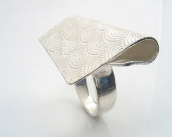 Sterling silver, spiral patterned, folded and mounted on a silver ring.Statement silver large ring,wow ring.Cool silver original ring design