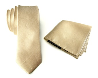 "Champagne linen necktie. Pale gold woven silk & linen blend men's tie. ""Fisher"" rustic wedding necktie. Pocket squares available too!"