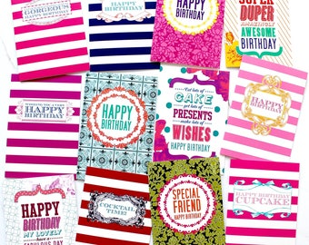 Pack of 12 Birthday Greeting Cards