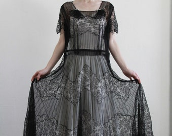 Sheer 1930s Dress . Deco Era Lace and Diamond Gown . 30s High Fashion