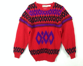 90s vintage red patterned knit sweater size M/L