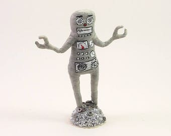 READY TO SHIP Spun Cotton Vintage Inspired Robot Figure or Ornament