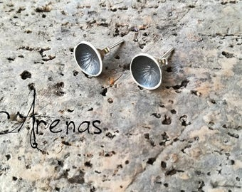 Stud Earrings - Boho Silver Earrings - Concave Earrings - Stud - Silver Stud - Boho Stud Earrings - Boho Concave Stud - Oxidize Silver