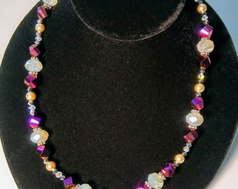 Purple Natural Stone Crystal Necklace
