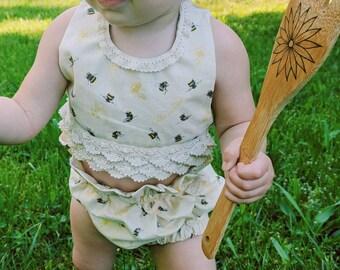 VIP Boho Bumble Bee Halter Crop Top- baby girl, toddler girl