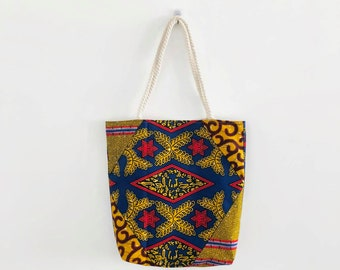 Tote bag African beach bag Ankara Africa handbag shoulder bag shopping bag mustard yellow African fabric travel bag mothers day gift for mom