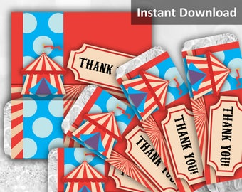 Carnival Circus Candy Bar Wrapper, Circus Party, Carnival Party, Carnival Circus Party Decorations, Printable Party Favors, Instant Download