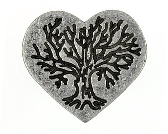 Heart Metal Buttons - Tree in Hearts Antique Silver Metal Shank Buttons - 23mm - 7/8 inch - 2 pcs
