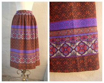 70s gypsy skirt / mid length Moroccan print purple orange brown / boho midi skirt / women xs small