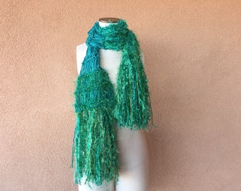 Kelly Green Scarf Emerald Accessories Green May Birthday Gift Sparkling Hand Knit Fringe Scarf for Women of Ireland
