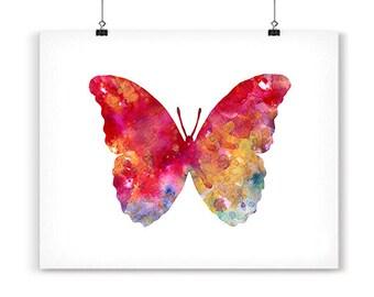 Watercolor art print butterfly decor, butterfly art, insect art, nature art, butterfly illustration art, home wall art - 65A